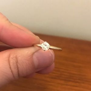 14k solid gold 1/3 carat diamond solitaire ring